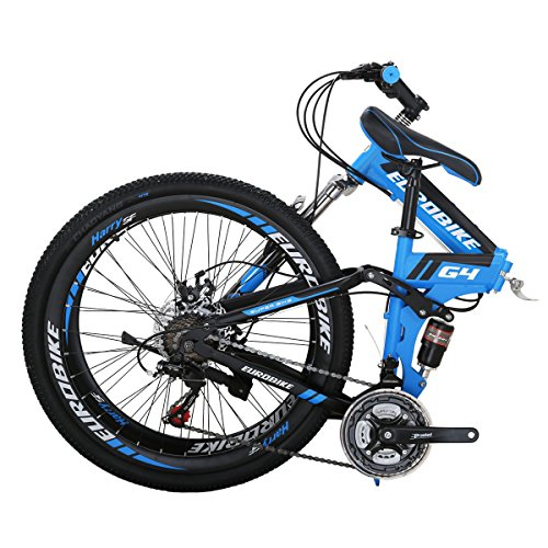 Folding Bike G4 21 Speed Mountain Bike 26 Inches 36 Spoke Wheels Dual Suspension Bicycle (36-Blue)
