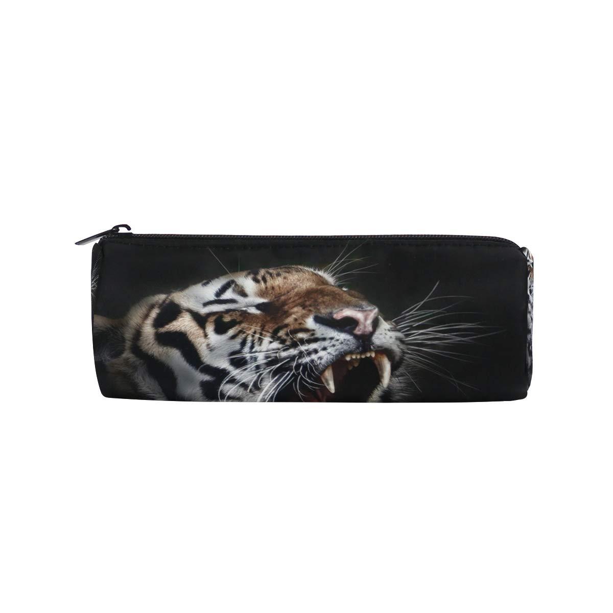 Animal Tiger Fierce - Estuche para lápices para niños, niñas, estudiantes, bolsa, bolsa de maquillaje redonda: Amazon.es: Oficina y papelería