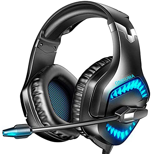 Gaming Headset for PS4 Xbox One PS5, 7.1 Stereo Surround Sound with Noise Cancelling Mic PC Headset, LED Light, Soft Earmuffs, Over Ear Headphones Compatible with PC PS4 PS5 Xbox One Laptop