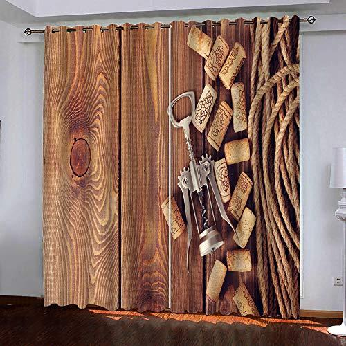 MEKVF Verdunkelungsvorhänge Eyelet Vorhang, 3D Printing Shading Vorhänge Balkon Vorhänge Schlafzimmer Fenster,2 Panel 280x250cm(Wxl) Rotweinkorken