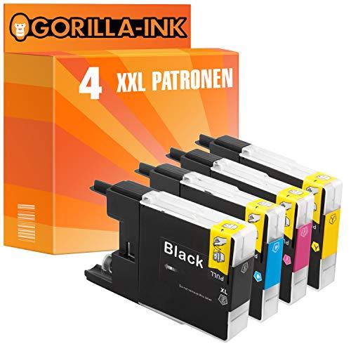 Gorilla-Ink 4X Patrone XXL kompatibel mit Brother LC-1240   Geeignet für Brother DCP-J 525W 725DW 925DW MFC-J 430 Series 430W 5910DW 625DW 6510DW 6710DW 6910DW
