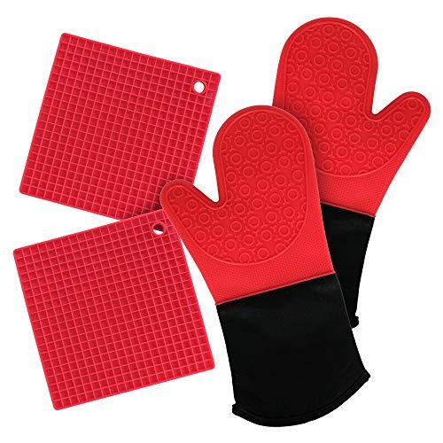 Juego de 4 Manoplas de Silicona para Horno, Resistentes al Calor, Antideslizantes, con Textura - Rojo