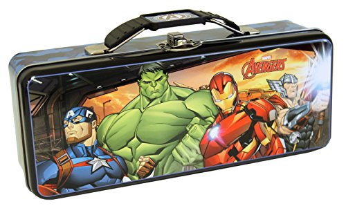 The Tin Box Company Avengers Pencil Box with Handle Clasp & Hinge, Model:739407-12