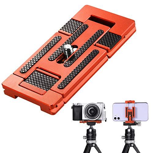 K&F Concept CA01 Aluminium Multi-Schnellwechselplatte, 2 in 1 Professionelle Kamera-Schnellverschlussplatte, für Stativ, Kamera, Handy, Orange
