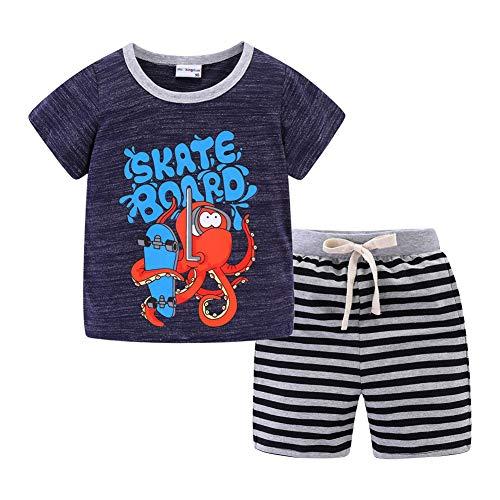 Mud Kingdom Toddler Boy Summer Outfits Cute Cartoon Squid Navy Stripe 4T