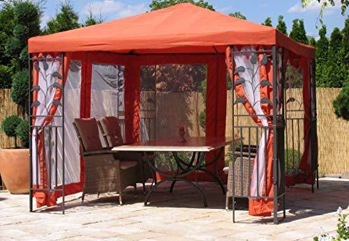 QUICK STAR Garten Blätter Pavillon 3x3m Terra Partyzelt Metall Carport mit 4 Seitenteilen mit Moskitonetz