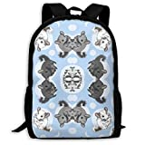 TRFashion Small Blue Chinchillas and Moon Fashion Outdoor Shoulders Bag Durable Travel Camping for...