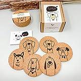Puppies - Juego de 6 posavasos de corcho para regalo para dueños de perros, amantes de los perros, impresión redonda