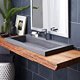 Native Trails NSL3619-S Native Stone Trough Bathroom Sink, 36' x 19', Slate, Single Faucet Hole