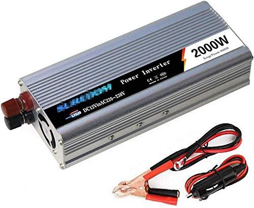 Auto Parts 2000W Inverter, DC a AC 12V 24V a 110V 220V 240V, 4000W Power Power, con puertos de carga USB y toma de corriente, convertidor de voltaje de sine modificado para computadora portátil, almoh