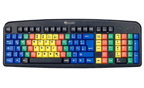 GeneralKeys Lerntastatur USB Ubungs Tastatur mit Farbkodierung fur 10 Fingersystem Lerntastatur 10 Finger