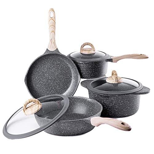 LF- Sartén de inducción, palillo sartenes no, Sartén Hogar Multifuncional 4 Piezas freír Pan + sartén + Sopa Pot + Pan de Leche