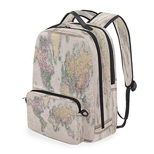 SunsetTrip - Zaino da scuola con mappa geografica rétro, rimovibile, per studenti, viaggi, per ragazze, ragazzi e donne