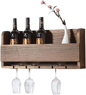 ZLJ Casier à vin en Bois Massif Support de gobelet Mural Bar Supports de Rangement de Cuisine Rack