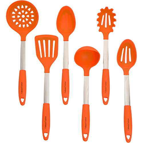 Orange Kitchen Utensil Set - Stainless Steel & Silicone Heat Resistant Professional Cooking Tools - Spatula, Mixing & Slotted Spoon, Ladle, Pasta Fork Server, Drainer - Bonus Ebook