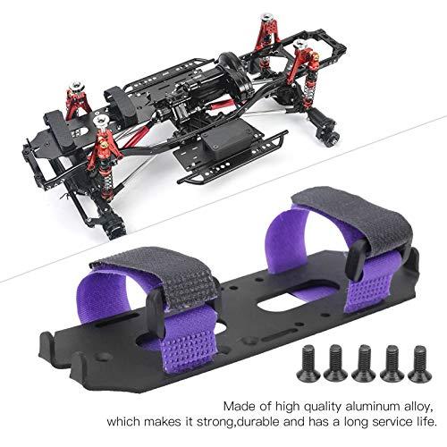 Dilwe Fernbedienung Autobatterie-Montageplatte, haltbare Metall-Batteriefach-Plattenhalterung RC-Batterie-Erweiterungskarte für Axial SCX10 II