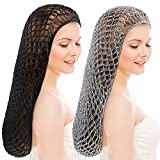 Waydress 2 Pieces Mesh Crochet Hair Net Long Rayon Snood Hat Hair Cover Soft Crocheted Hair Net 20 Inch Sleeping Cap Ornament Hair Accessories for Women, Black, Gray