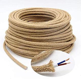 5m Cable Textil de Lino, Cable Trenzado Flexibles Vintage, para Lugares de Hogar o Negocios, Accesorios de Lámparas Industriales de Iluminación DIY