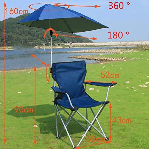 QYYzdy Schirm-Campingstuhl, tragbarer Faltbarer Picknick-Stuhl im Freien Mit abnehmbarem Regenschirm und Fußstütze, Beach Patio Pool BBQ Picnics (Color : Blue)