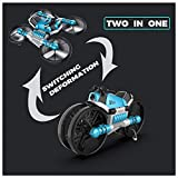 RC WiFi Drone Motorcycle Vehicle 2-In-1 Quadcopter Multi-Function Folding for Adults Kids Beginners (Blue)