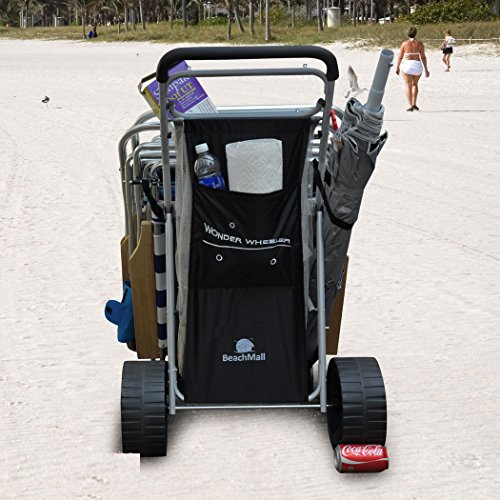 Wonder Wheeler Beach Cart for Sand - Ultra Wide Big Wheels with Removable Tote Bag Folding Buggy