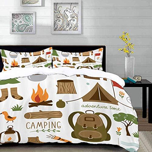 ropa de cama - Juego de funda nórdica, aventura, equipo de campamento Saco de dormir Botas Campfire Shovel Hatchet Log Artwork Print, Multic, Juego de funda nórdica de microfibra con 2 funda de almoha