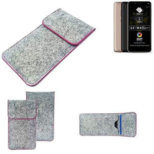 K-S-Trade Handy Schutz Hülle Für Allview A9 Plus Schutzhülle Handyhülle Filztasche Pouch Tasche Hülle Sleeve Filzhülle Hellgrau Pinker Rand