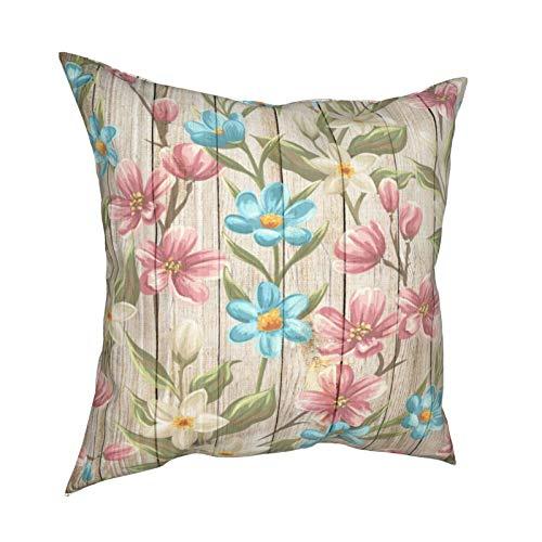 Fundas de almohada, color rosa, azul bebé, blanco, floral, verde, hojas en madera, fundas de cojín cuadradas para sofá, sala de estar, cama 45,7 x 45,7 cm
