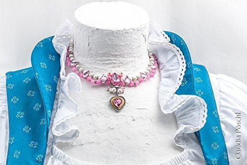Dirndlkette 2-reihig rosa - pink - weiß - Herzanhänger