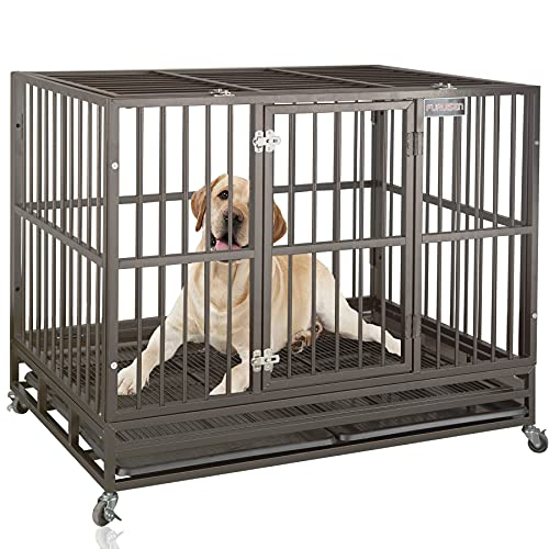 pet crate with wheels Heavy Duty Dog Crate Strong Metal Pet Kennel Playpen on Lockable Wheels, Large Dog Cage Steel with Prevent Escape Locks for Medium & Large Dogs Indoor Outdoor