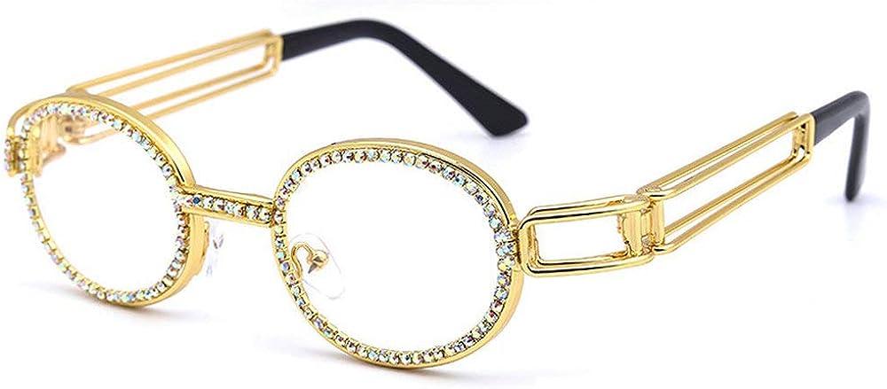 MINCL/Oval Metal Frame Diamond UV400 punk style Sunglasses