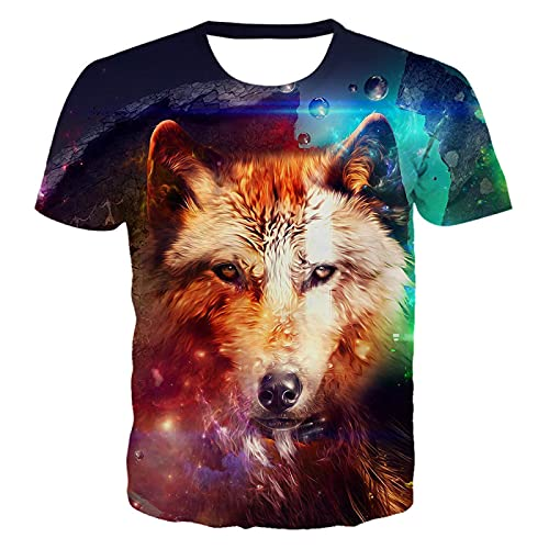 DREAMING-Summer animal wolf head 3d digital printing round neck pullover casual top men's and women's short-sleeved T-shirts S