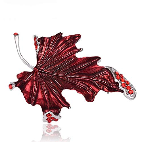Fashion Red Maple Leaf Brooch Pin Femal Broches Austrian Crystal Broaches Accessories Jewelry Lapel Pin-Red
