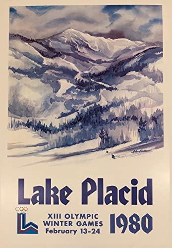 Poster per la riproduzione degli olimpici invernali 1980 Lake Placid, formato 50 x 70 cm, carta di lusso, 300 g, vendita del file digitale HD