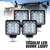 4 Pcs LED Work Light - 4 Inch Flood LED Light Bar for Offroad Truck Trator Jeep ATV UTV Golf cart Boat - Driving Lamp Daytime Running Light