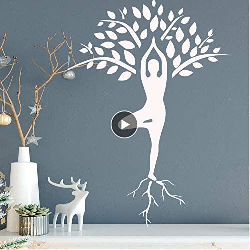 Wall Sticker for Living Room Bedroom Decor Art Home Decoration Slender Woman Yoga Pose Wall Sticker Tree Pattern for Girl Bedroom Removable Vinyl Wall Mural 58x79cm