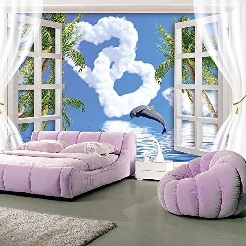 ZJfong fotobehang voor buiten, hemelsblauw, liefde, wolken, dolfijnmotief, 3D-achtergrond, woonkamer 250 x 175 cm.