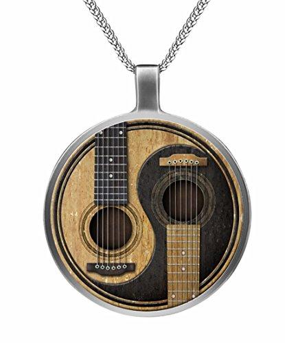 Orion Creations Musikinstrument Schmuck. Zwillings-Gitarren-Anhänger Halskette.