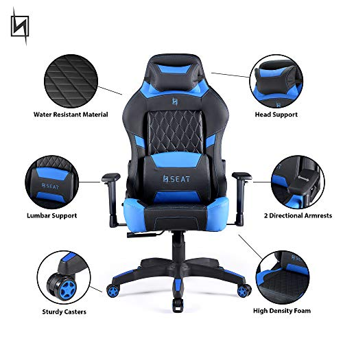 N Seat Gaming Chair, Black/Blue black chair gaming