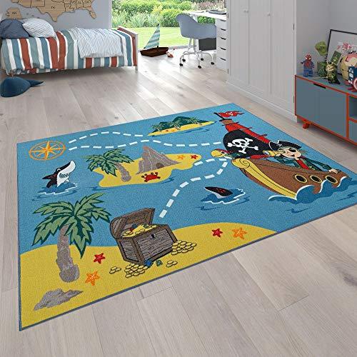 Alfombra para niños, Alfombra de Juego para Habitaciones de niños, La Isla del Tesoro y el Pirata, En Color, tamaño:100x200 cm