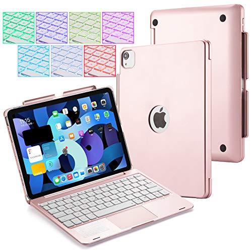 UIQELYS Funda con teclado iPad para iPad Air 2020 10.9 (4ª generación), A2072/A2316/A2324/A2325, teclado retroiluminado con panel táctil, funda inalámbrica Bluetooth para tablet de 11 pulgadas (rosa)