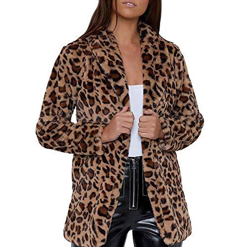 WUDUBE Cappotto Outwear da Donna in Pelliccia Sintetica a Maniche Lunghe con Stampa Leopardata Invernale