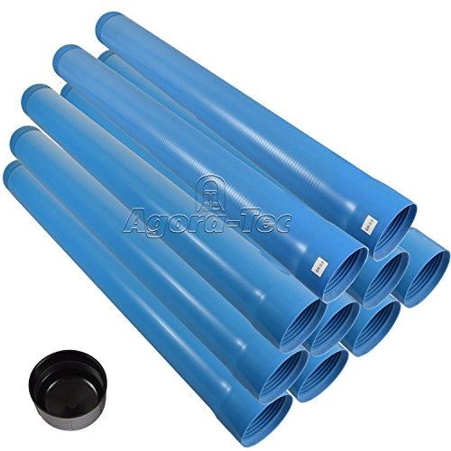 Agora-Tec® 4 Zoll DN 100 Brunnenrohr - Set (10 Meter) mit 8 Meter Vollwandrohr, Endkappe und 2 Meter Filterrohr mit Einer (Schlitzweite: 0.5mm)