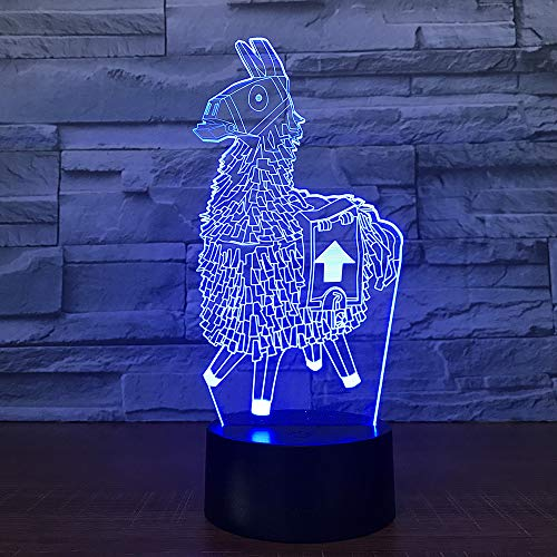 Novelty Llama 3D Illusion Lamp Alpaca, 7 Colors Flashing Bedroom Led Night Lights, USB Touch Sensor Desk Lamps for Kids Christmas Gifts