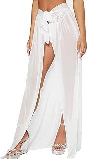 Cover Ups for Swimwear Women's Tie Side Boho Split Long White Beach Dress Chiffon Sheer Maxi Beach Skirt (XS-XXXL)