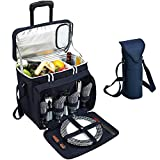 Picnic at Ascot Original Equipped Cooler on Wheels for 4 - Extra Wine