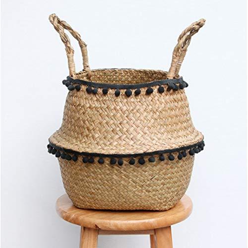 lxxiulirzeu Macrame Decoration Seaweed Wicker Basket Folding Storage Basket Rattan Flower Pot Weaving Garden Flower Pot Storage (Color : Black, Size : 32cmX28cm)