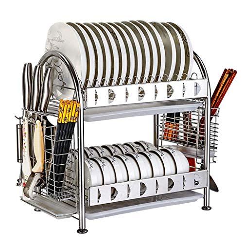 KFDQ Escurridor de platos de acero inoxidable 304 de 2 niveles Soporte para estante de secado de platos Organizador Escurridor de estante Bandeja para secadora Soporte para cubiertos con bandeja de g