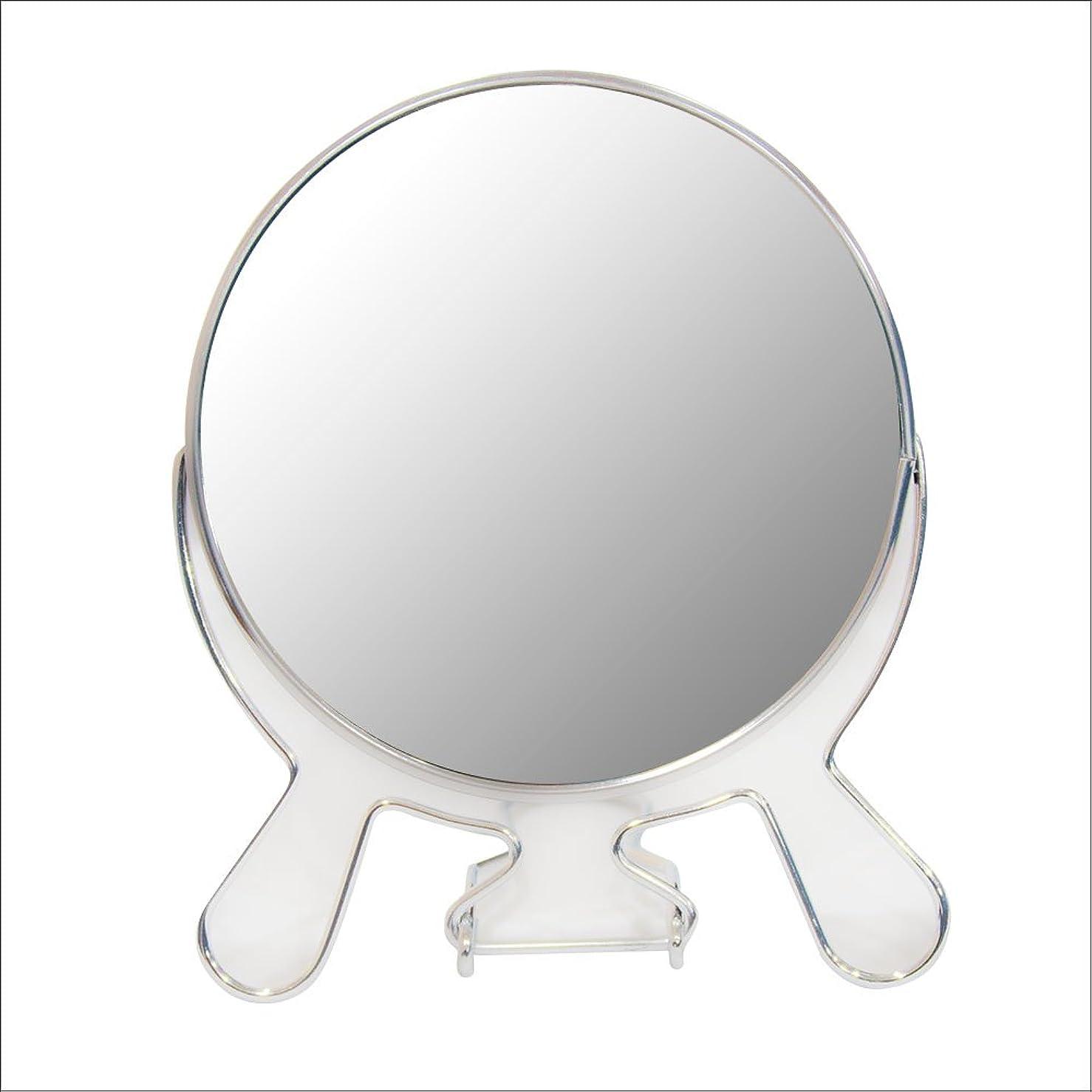 く略語モスク安住商事 円形折りたたみスタンドミラー 両面鏡 卓上鏡 メイク 化粧道具 コンパクト 360度回転 3倍拡大鏡