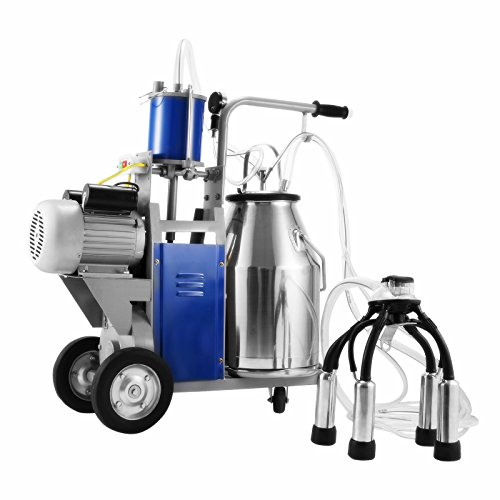 Popsport Electric Milking Machine 110V 1440 RPM Portable Milking Machine with 25L 304 Stainless Steel Bucket Milking Machine Only for Farm Cows (Milking Machine)